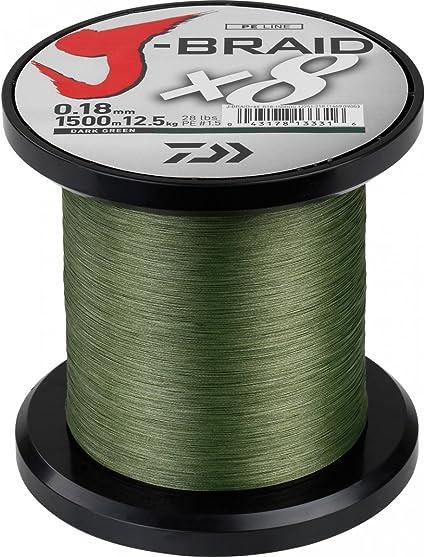 Daiwa J-Braid X8 0,22mm 17,0kg 1500m dunkelgrün Geflochtene Schnur Angelschnur