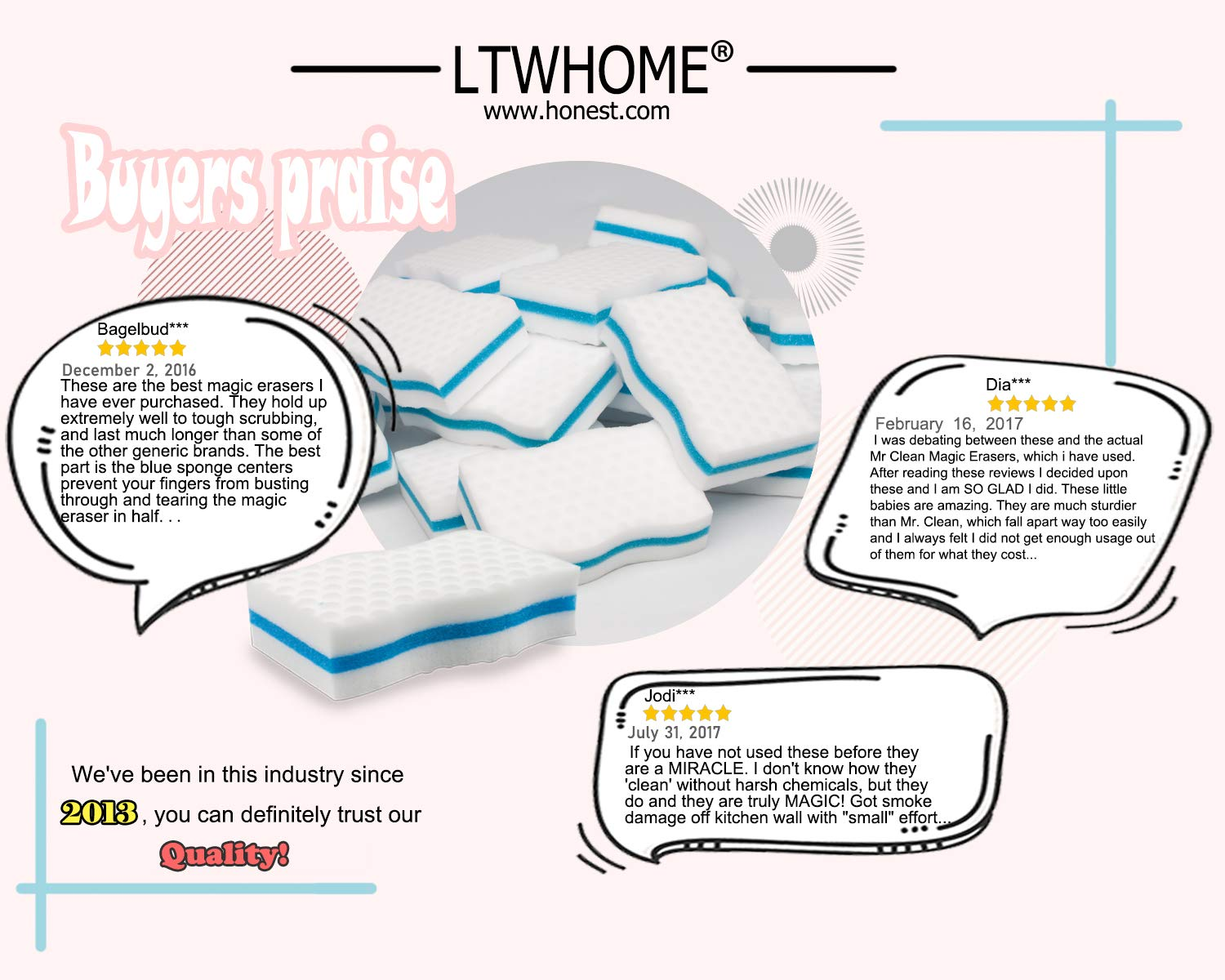 LTWHOME Generic Magic Eraser Kitchen & Dish Scrubber Dual Sided Cleaning Melamine Foam M(4'' x 2.4'' x 1'') (Pack of 100) by LTWHOME (Image #4)