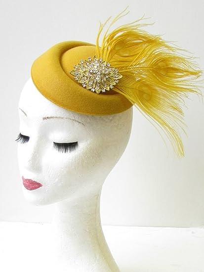 Oro Mostaza pastillero sombrero tocado Races Ascot de plumas de plata cabeza 1663 * Exclusivamente Se