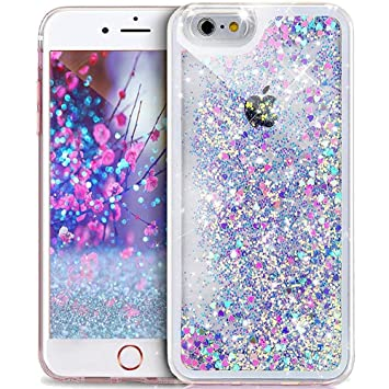 pretty nice 662f0 c85b4 iPhone 4S Case,iPhone 4 Case,ikasus iPhone 4S/4 Glitter Case,[Blue Pink]  Quicksand Sparkle Love Heart Running Glitter Flowing Glitter Floating Bling  ...