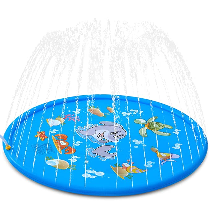 "Splash Pad, ALWOA 68""Kids Sprinkler Pad for 1 2 3 4 5 Year Old Toodler Children Boys Girls, Inflatable Shark Water Toys Fun for Outdoor, Upgraded Sprinkle and Splash Play Mat with Wading Pool"