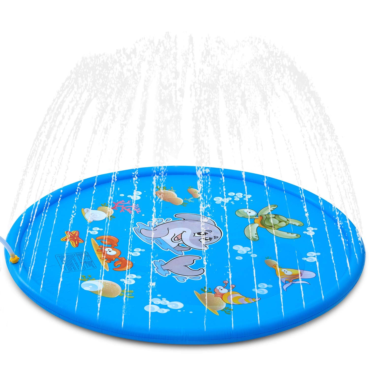 Splash Pad, ALWOA 68''Kids Sprinkler Pad for 1 2 3 4 5 Year Old Toodler Children Boys Girls, Inflatable Shark Water Toys Fun for Outdoor, Upgraded Sprinkle and Splash Play Mat with Wading Pool