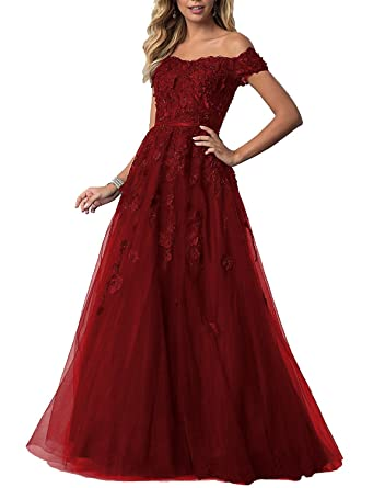 Angela Elegant Off Shoulder Lace Prom Dresses Plus Size Formal Evenning Long Chiffon ANS065
