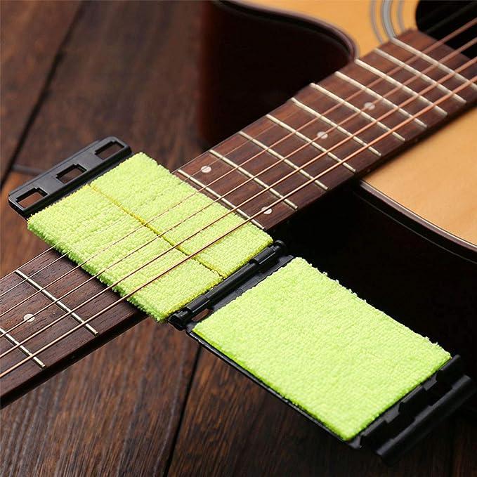 Limpiador de cuerdas de diapasón de guitarra Herramienta de mantenimiento Limpiador de cuerdas de instrumentos Cuidado de mantenimiento para guitarra / bajo ...