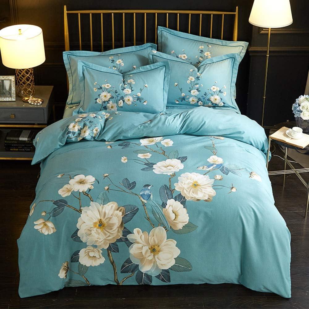yaonuli Lijado de algodón Cuatro Juegos de pájaros y Flores de algodón Funda de edredón de Cama de 1.5 sábanas de 200 * 230 cm 245 * 250 cm Funda de Almohada Dos