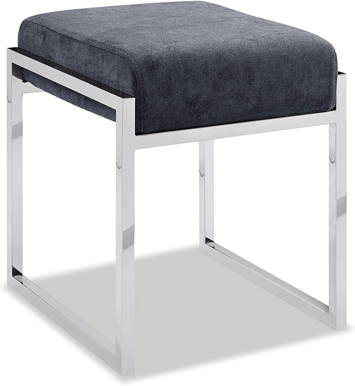 Whiteline Modern Living Milan Contemporary Ottoman in Light Gray, Charcoal Fabric or White Faux Leather and Polished Stainless Steel Legs