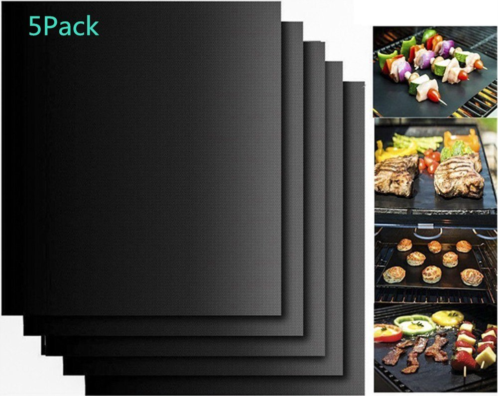 LINFON BBQ Grill Mat Non Stick, Perfect For Baking on Gas, Charcoal, Oven and Electric Grills - Reusable, Durable, Heat Resistant Barbecue Sheets For Grilling Meat, Veggies, Seafood, 5PACK …