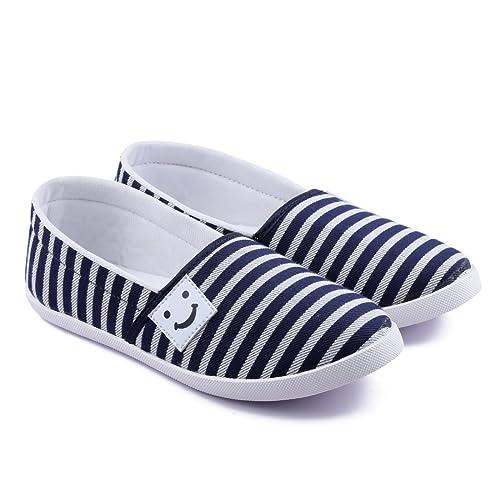 ASIAN Women's Blue \u0026 White Canvas Shoes