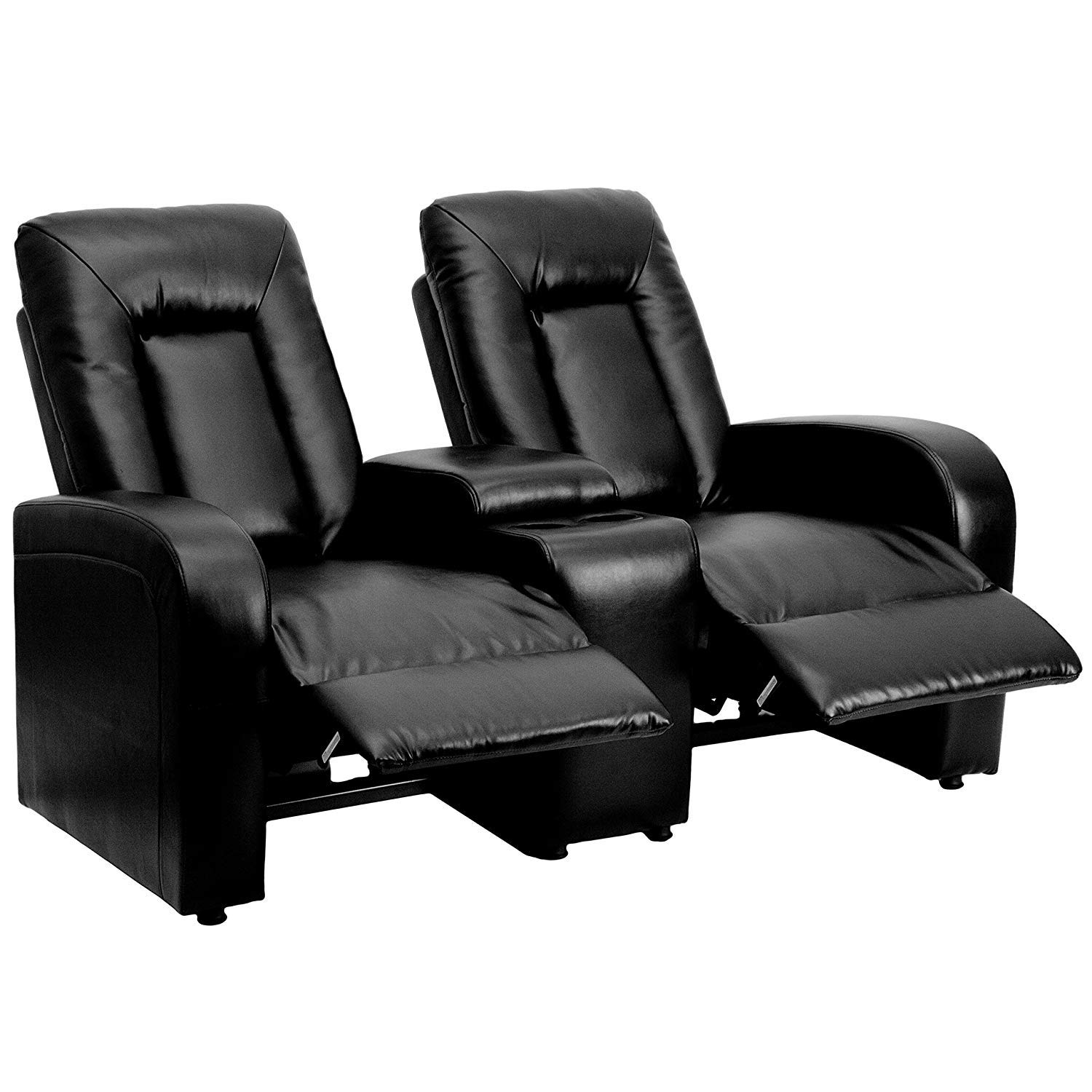 Black Leather 2-Seat Push Back Home Theater Seating Unit, Leather Recliner Sofa with Cup Holders, Sorage Console, Headrest by Dwellfor