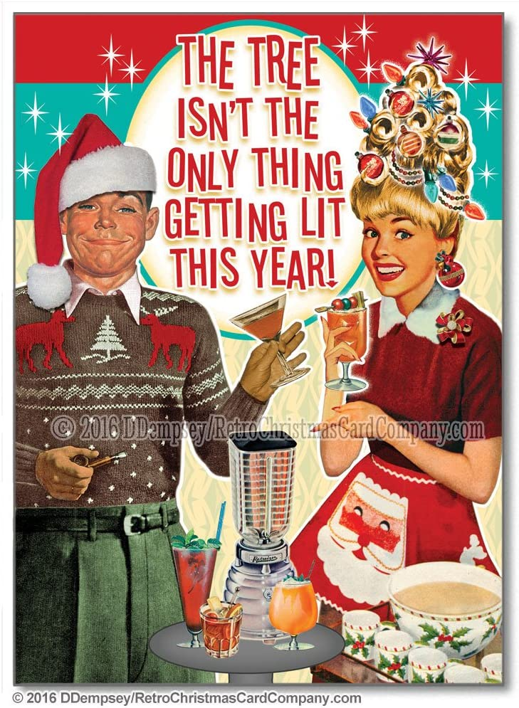 Tipsy Couple Funny Christmas Cards, Package of 8