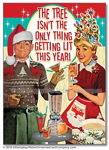 Tipsy Couple Funny Christmas Cards Package Of 8