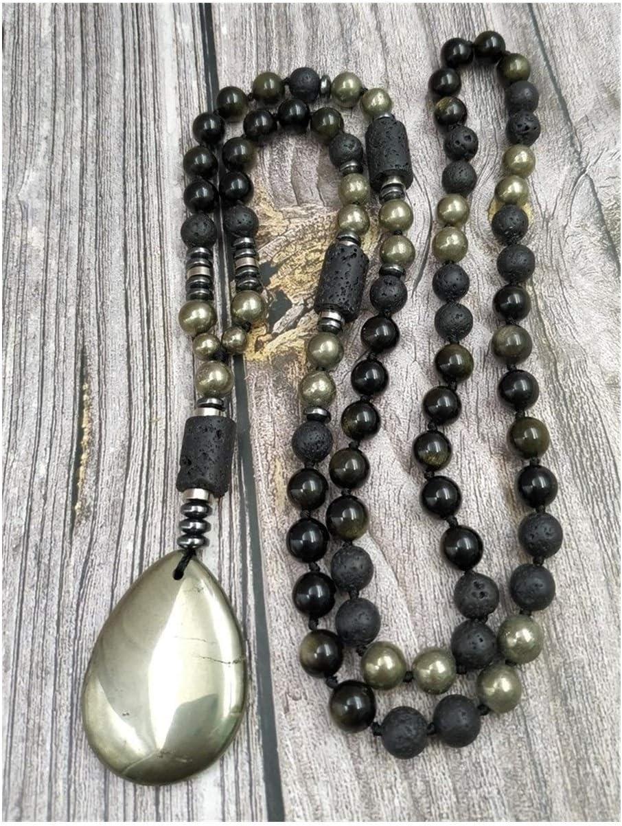 Collar Colgante de Piedra pirita pirita Obisdian Lava Cuentas de Piedra hematita Hecho a Mano Nudo Collares Regalo (Metal Color : 100cm)