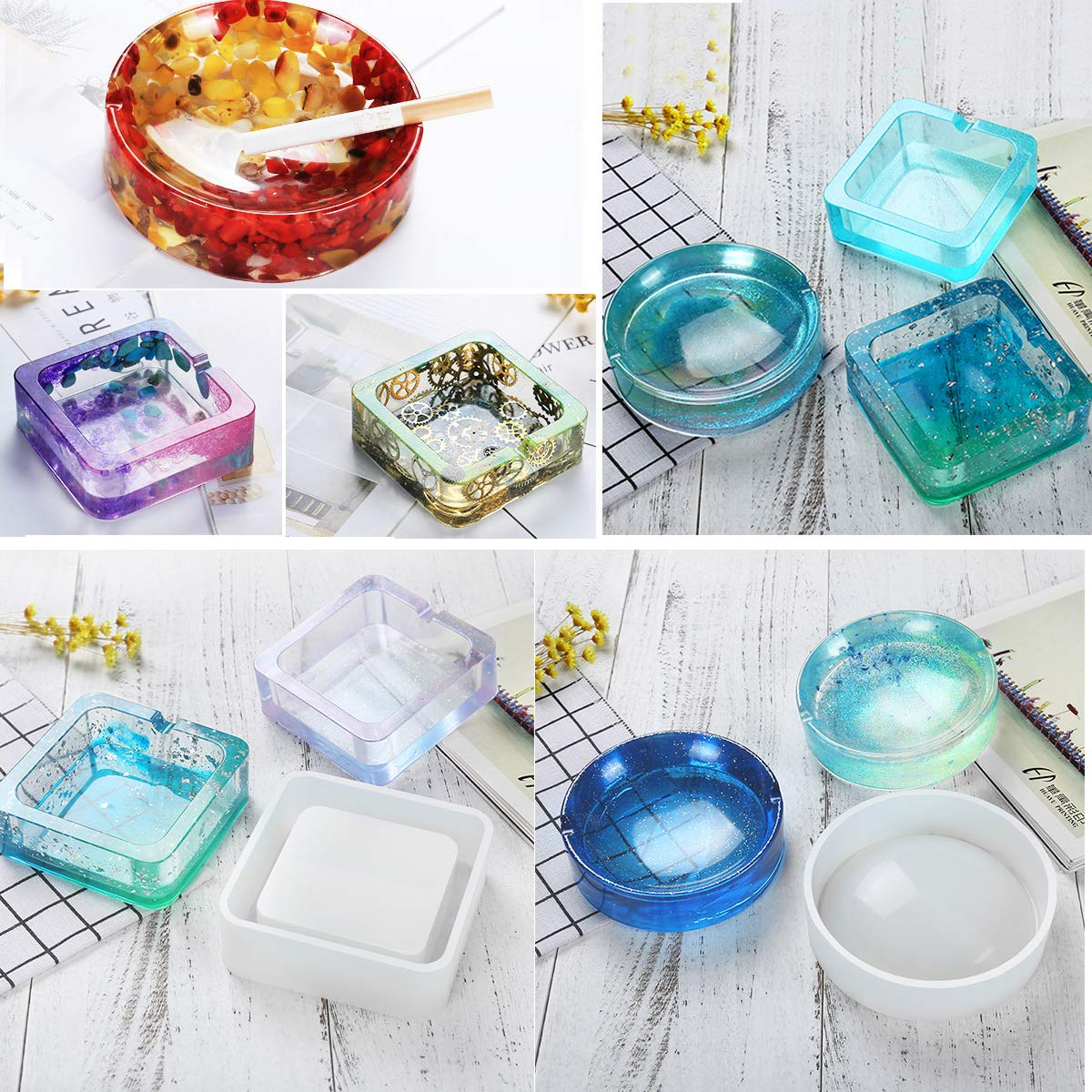 Concrete Hexagon and Square Mold for Resin with Measurement Cup and 10 Wood Sticks Epoxy Casting Molds Including Round Home Decoration Vindar 5 Pack DIY Silicone Coaster Resin Molds Cement