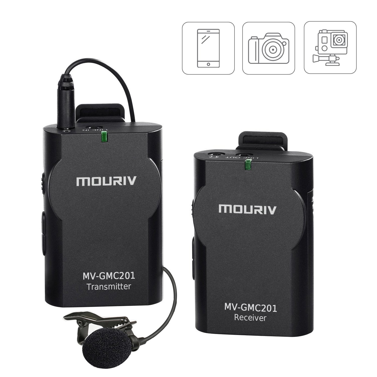 Mouriv Newest MV-GMC201 2.4G Universal Lavalier Wireless Microphone System Lapel Mic with Real-time Monitor for DSLR Camera, Camcorder, IOS iPhone, Android Smartphone Phone, Tablet, Gopro 3,3+, 4