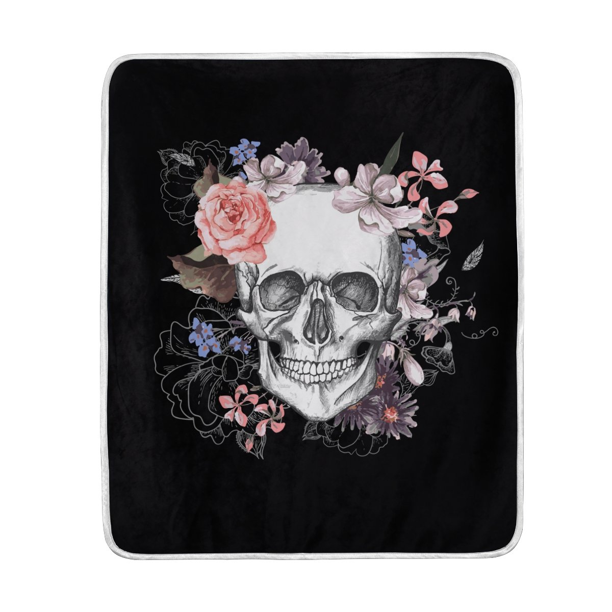ALAZA Home Decor Black Floral Sugar Skull Soft Warm Blanket for Bed Couch Sofa Lightweight Travelling Camping 60 x 50 Inch Throw Size for Kids Boys Girls