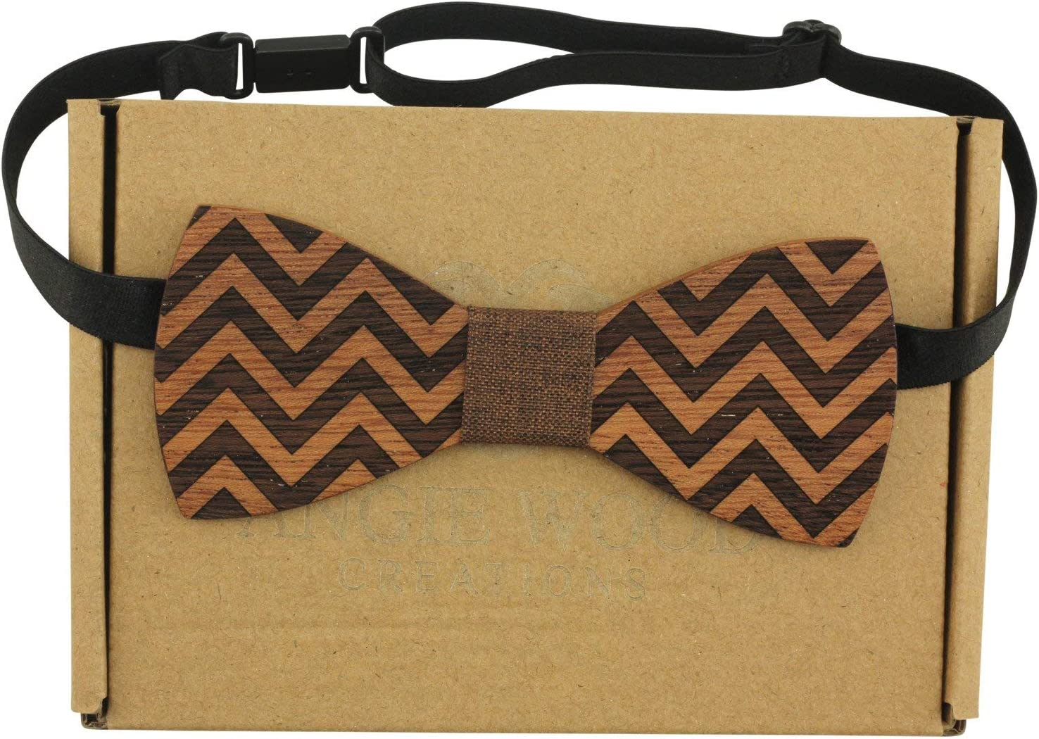 Striped Blue with White Dots Medium Round Men/'s Wooden Bow Tie with Zigzag Pattern