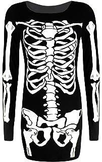 e9543cf4163 REAL LIFE FASHION LTD New Sexy Women Ladies Black Skeleton Bone Print  Bodycon Dress TOP Size