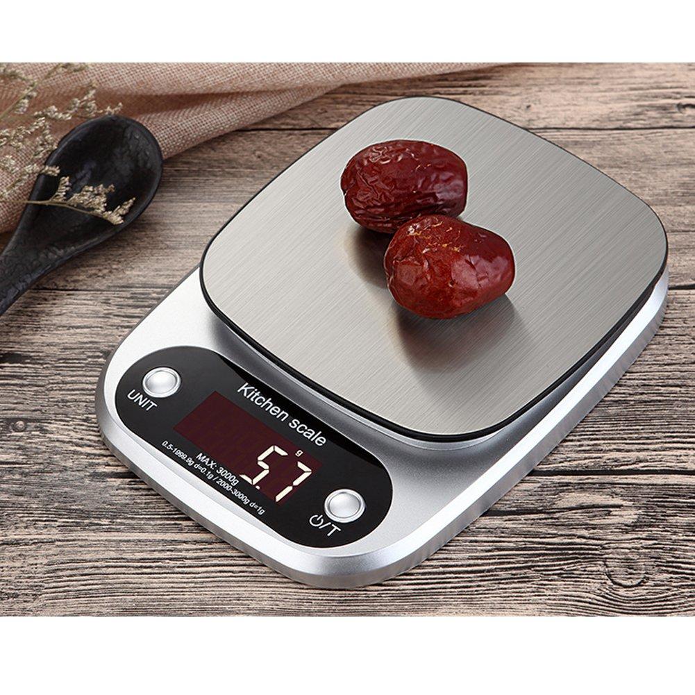 Balanza de cocina digital, balanza multifunción para productos de consumo diario con pantalla LCD iluminada y cuatro unidades de medidas (batería incluida), ...
