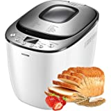 Bread Maker, AICOOK 2LB Automatic Bread Machine With Gluten Free Setting, LED Display, Nonstick Pan, 3 Crust Color…