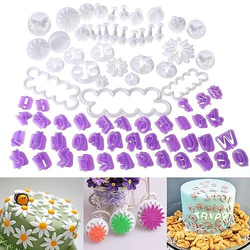 OUNONA Ensemble de 76 ustensiles pour décoration de gâteau/emporte-pièces avec poussoirs(33pcs Coupeurs de fleurs+40pcs Coupeurs d'alphabet+3pcs Rose Cutters)