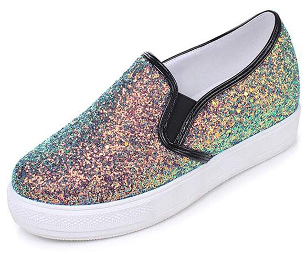 Mofri Women's Stylish Sequins Round Toe Low Top Elastic Slip on Loafers Sneakers (Black, 8 B(M) US)