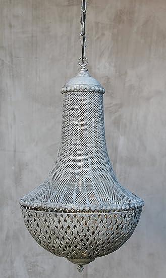 LL Vintage Hängelampe Metall Grau Patiniert Lampe Landhausstil Decke  Wohnzimmer Esstisch Ø 42cm E27 Hängeleuchte Retro