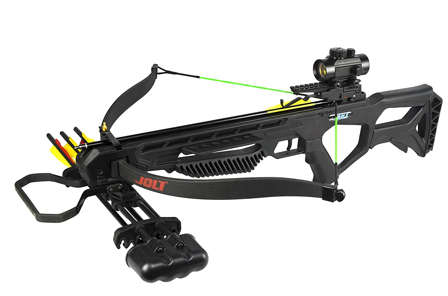 PSE Archery Jolt Hunting Crossbow Package – Recurve Limbs - 175 lb Draw  Weight – Red Dot Scope – Rubber Coated Foot Stirrup – 250 FPS – Zombie  Green