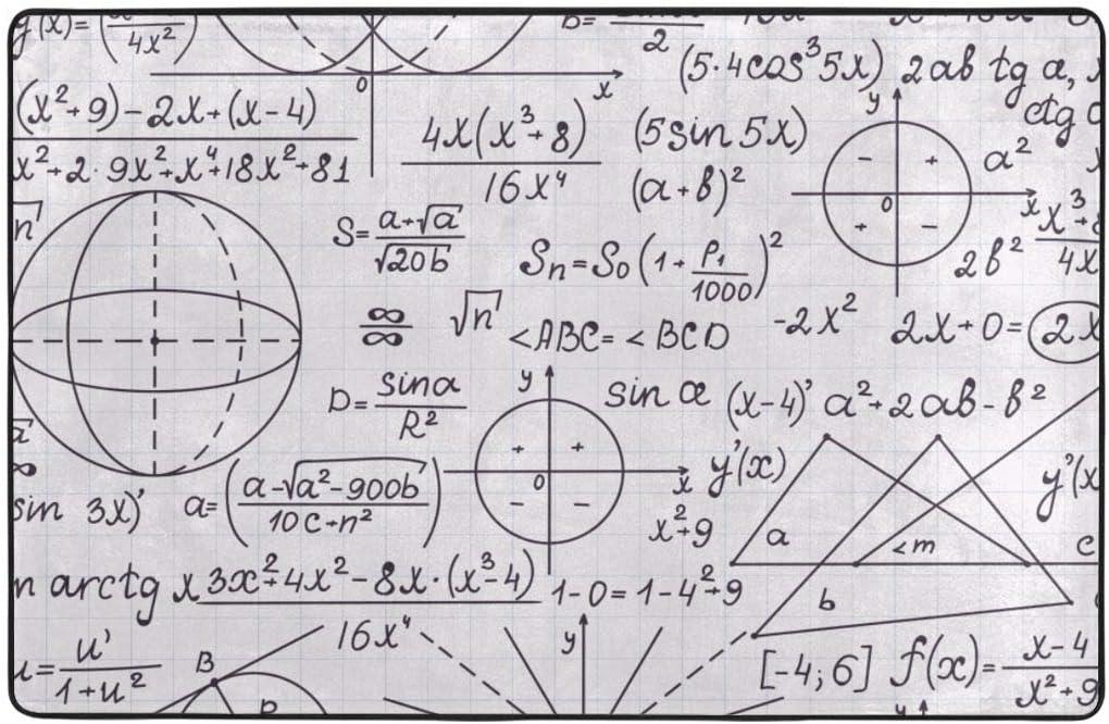 MAYUES Alfombra de baño,Geometría y fórmulas, escritas a Mano en la versión de cuadrícula de Papel.Textura sin Fin matemática,Alfombra de baño Antideslizante Alfombra