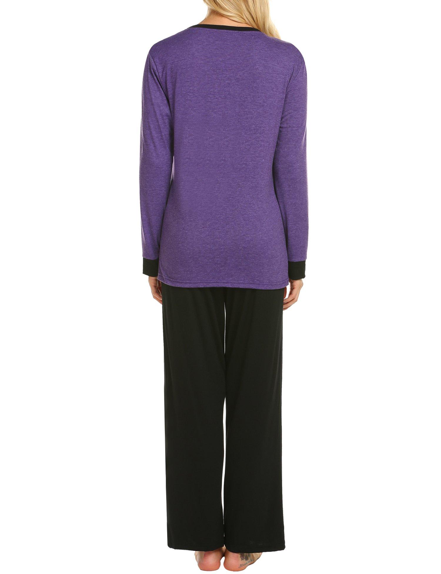 MAXMODA Soft Pajamas Long Sleeve Sleepwear Soft PJ Set with Pants Purple L by MAXMODA (Image #2)