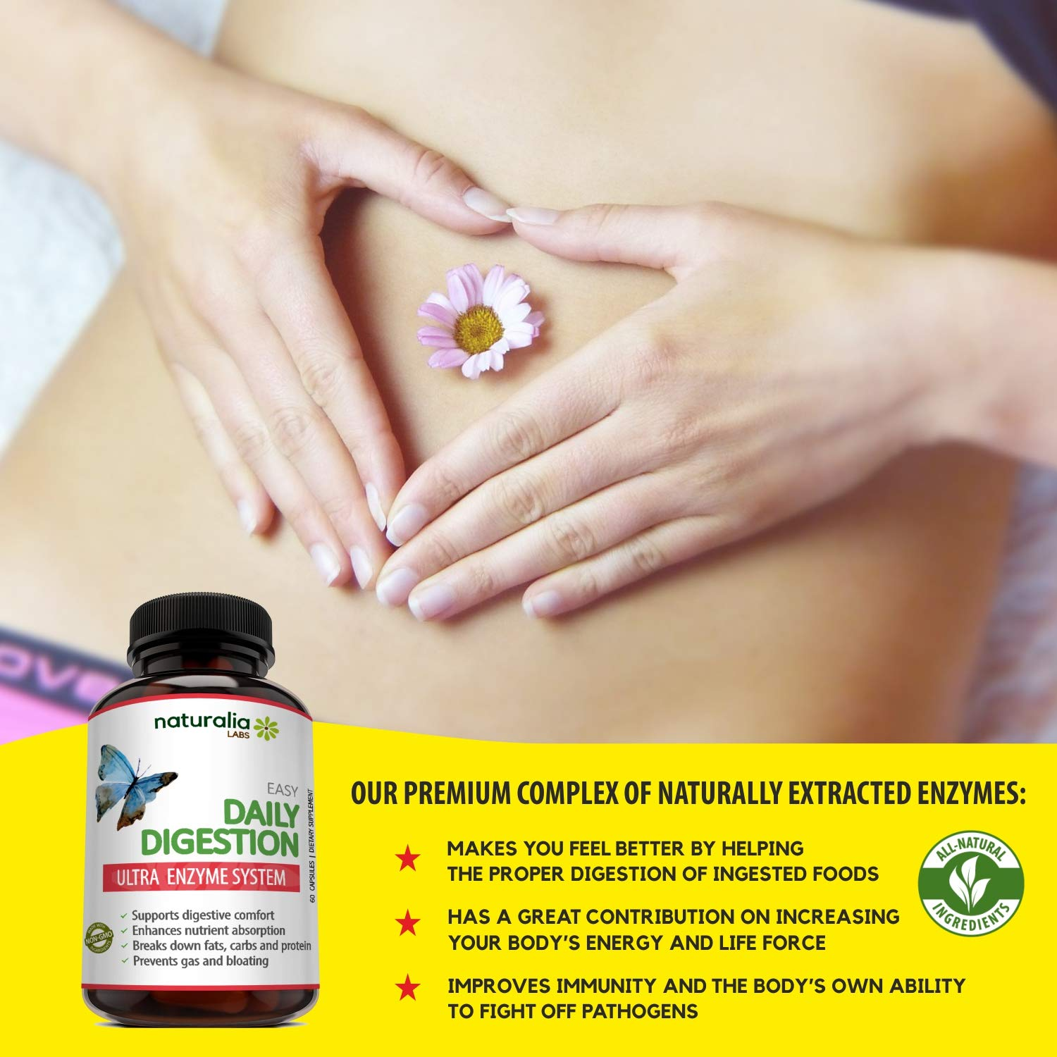 Naturalia Labs - Digestive Enzyme Supplements - Bromelain, Lactase, Lipase, Amylase, Papain,...