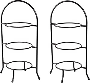 """Creative Home Iron Works Set of 2 Pieces 3-Tier Metal Dessert Plate Rack Party Food Server, 18-1/2"""" H, Black"""