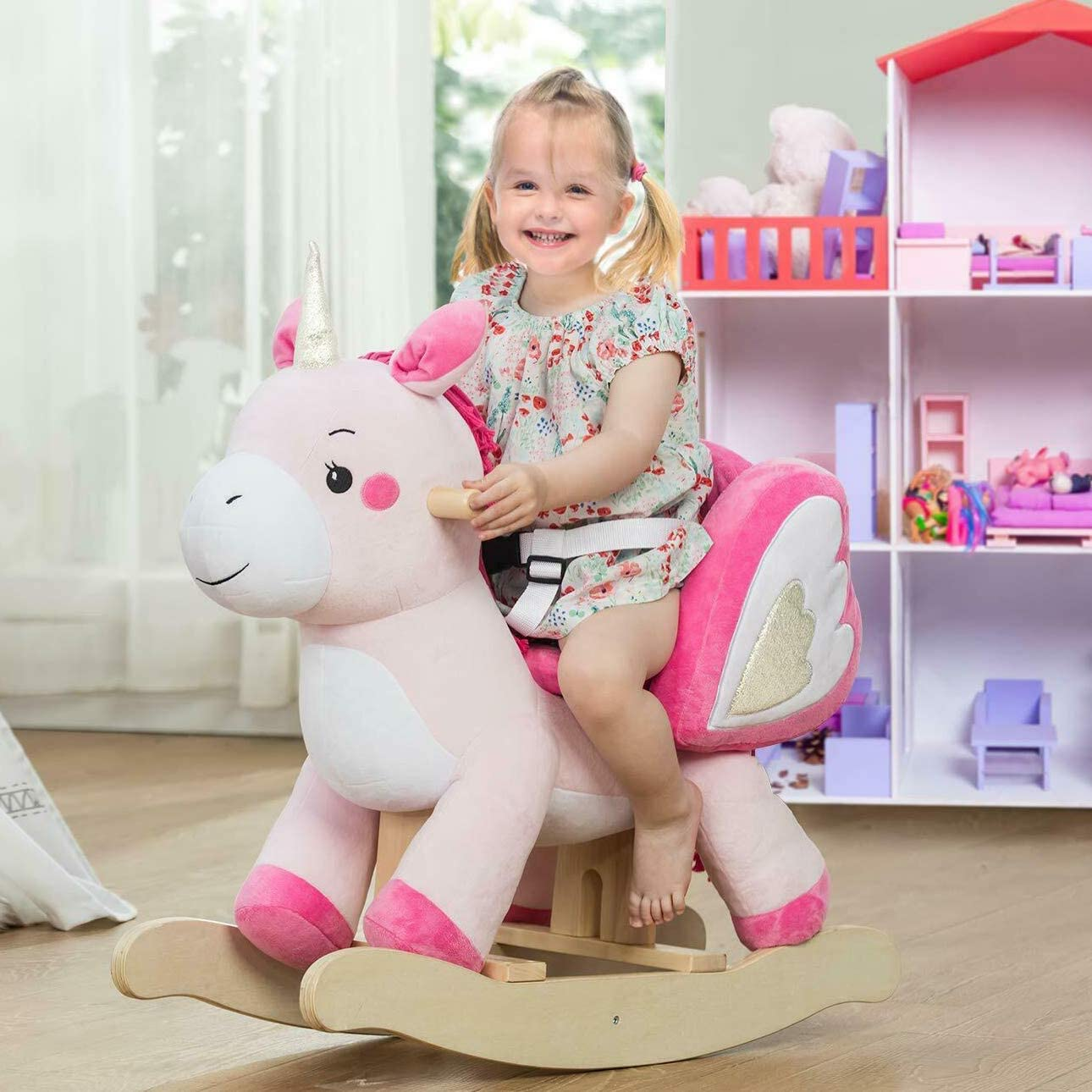 labebe - Baby Rocking Horse, Ride Unicorn, Kid Ride On Toy for 1-3 Year Old, Infant (Boy Girl) Plush Animal Rocker, Toddler/Child Stuffed Ride Toy