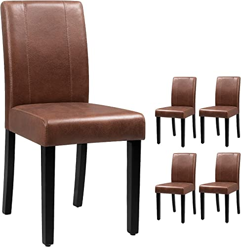 Victone PU Leather Dining Chairs Modern Home Kitchen Side Chair Solid Wood Legs Living Room Chairs Set of 4 Brown