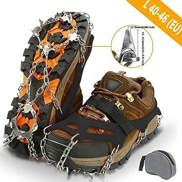 Anti-Scivolo FeelGlad Ramponi per Scarpe con 19 Punte in Acciaio Inox Catene da Neve per Passeggiate Invernali e Alpinismo