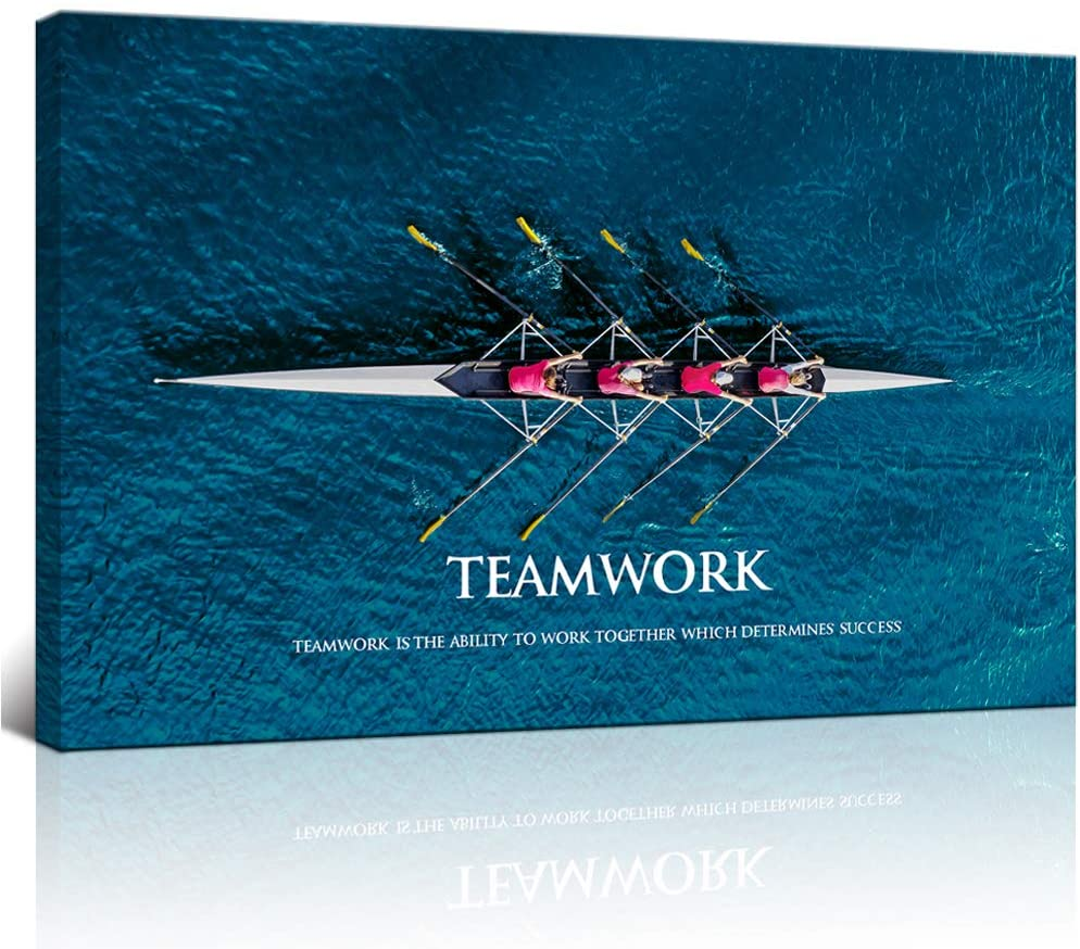"""KLVOS Inspirational Success Teamwork Canvas Wall Art Rowing Team on Blue Ocean Framed Motivational Self Positive Office Quotes Picture Gallery Wrap Modern Home Office (24""""x36"""")"""