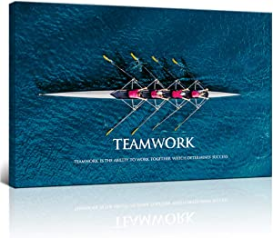 "KLVOS Inspirational Success Teamwork Canvas Wall Art Rowing Team on Blue Ocean Framed Motivational Self Positive Office Quotes Picture Gallery Wrap Modern Home Office (24""x36"")"