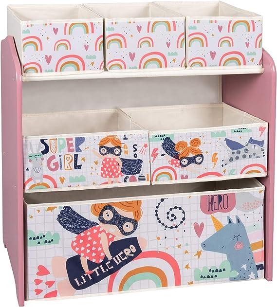 EUGAD Estante de Almacenamiento para Niños Estantería para Juguetes Libros Librería Infantil Organizador para Niños Muebles para Niña con 6 Cajas de ...