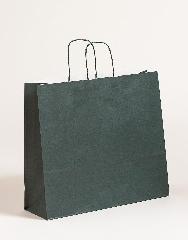XL große Papier Tragetaschen Geschenktüte Dunkelgrün 42 x 13 x 37 cm VE 150 Stück B0749MK54Q | Neu