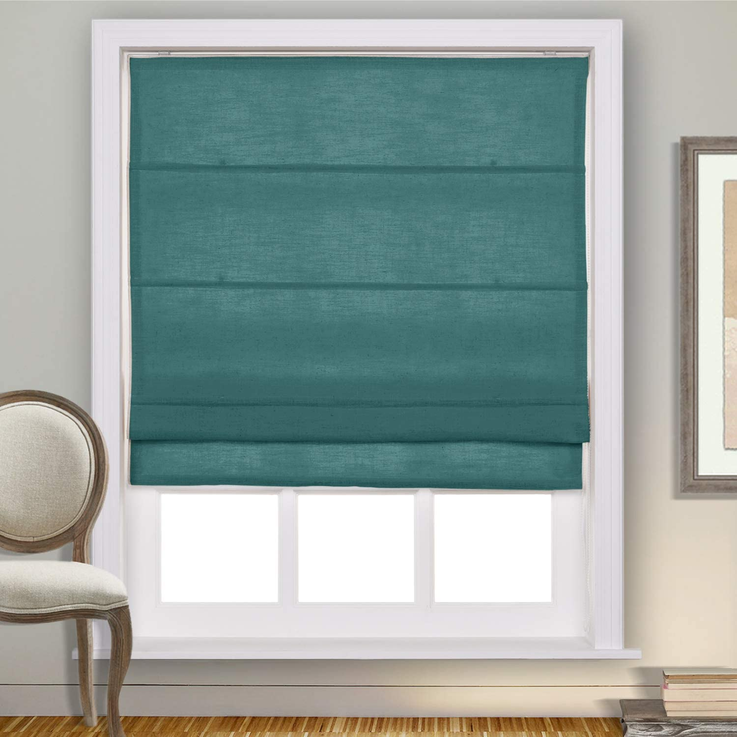 cololeaf Fabric Roman Shades for Kitchen Window, Custom Made Window Blind Treatment Privacy Protect Roman Shade Blind Blackout Light Filtering, Install Hardware Included, Everglade Teal, 1 Piece: Kitchen & Dining