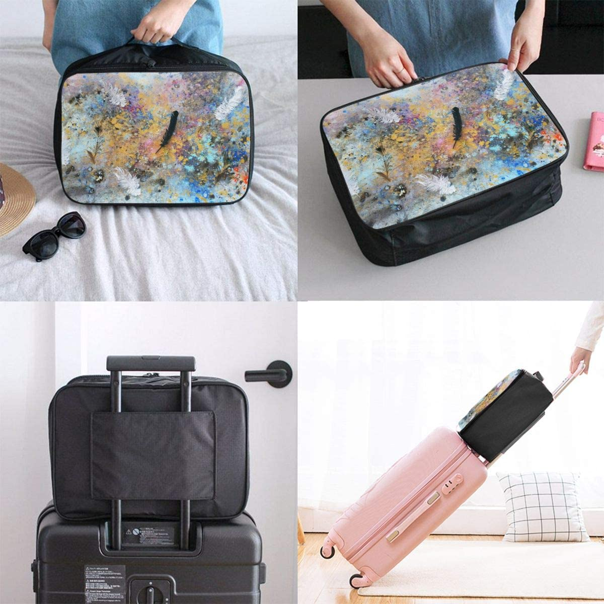 Feather Travel Carry-on Luggage Weekender Bag Overnight Tote Flight Duffel In Trolley Handle