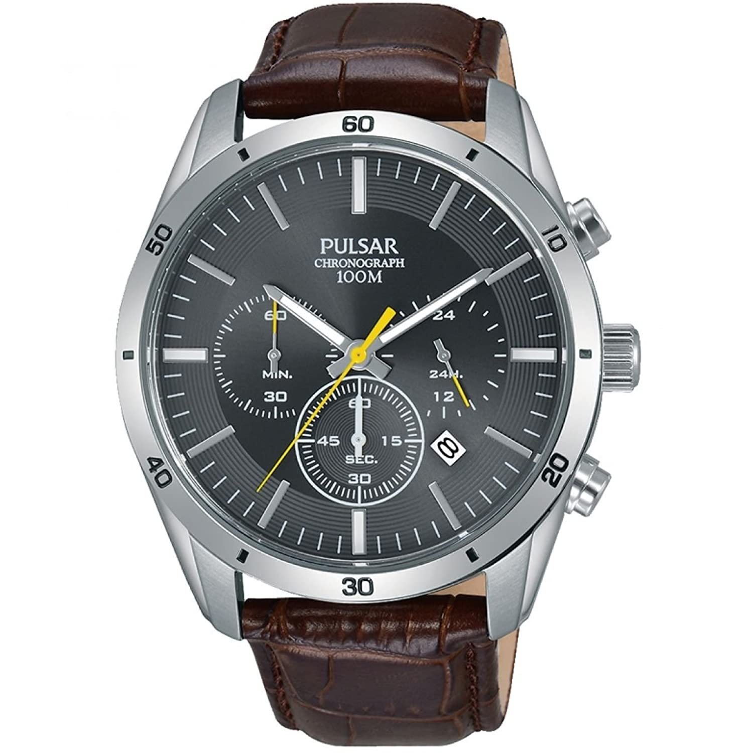 Pulsar Gents Brown Leather Grey Face Chrono PT3837X1 -