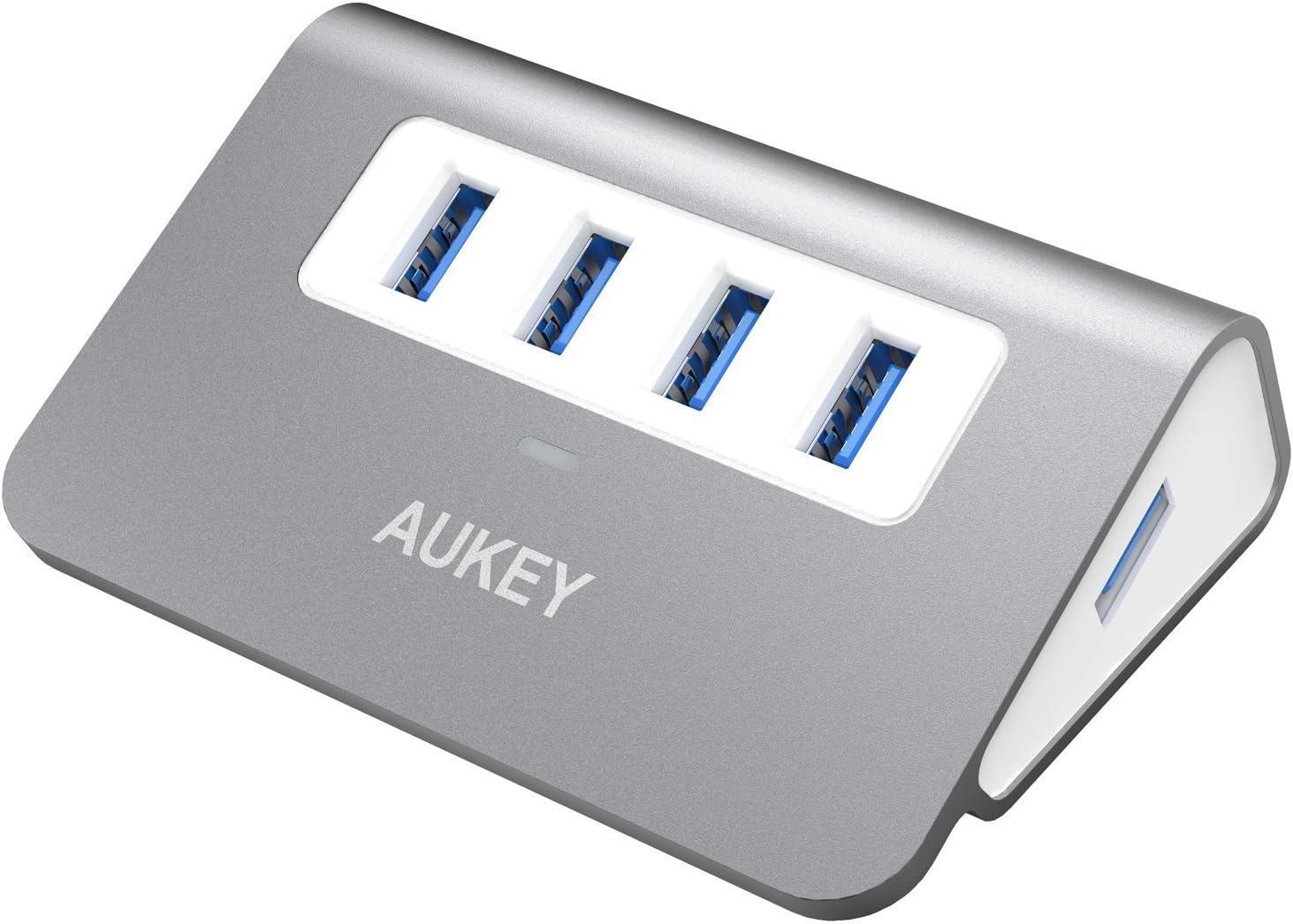 AUKEY Hub USB 3.0 4 Puertos Aluminio SuperSpeed 5Gbps con Cable USB 3.0 50cm y LED para Apple MacBook, Macbook Air, Macbook Pro, iMac y Ordenador Portátil (Gris)