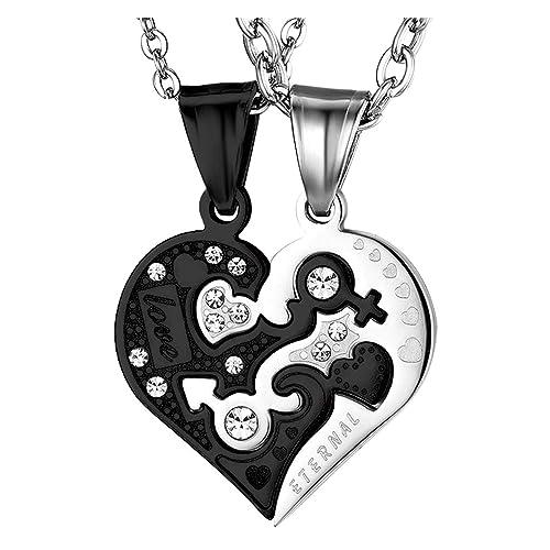 Oidea Collar Hombre Mujer de Acero Inoxidable Circonita Colgante Corazón Amor Eterno Cadena Incluida Joyería Moda Regalo Romántico Pareja Aniversario ...