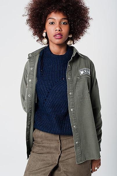 newest 7d155 3f8a5 Q2 Donna giacca color cachi con il particolare toppa sul ...