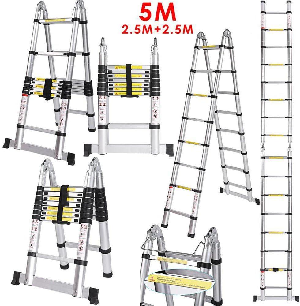 kaimus 5 m de aluminio multiusos Escalera telescópica de aluminio telescópica (extensible Escalera ligera aluminio escalera – Escalera pie escalera de aluminio telescópica (150 kg capacidad de carga con base ampliadas Escalera