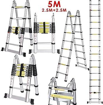 kaimus 5 m de aluminio multiusos Escalera telescópica de aluminio telescópica (extensible Escalera ligera aluminio escalera –