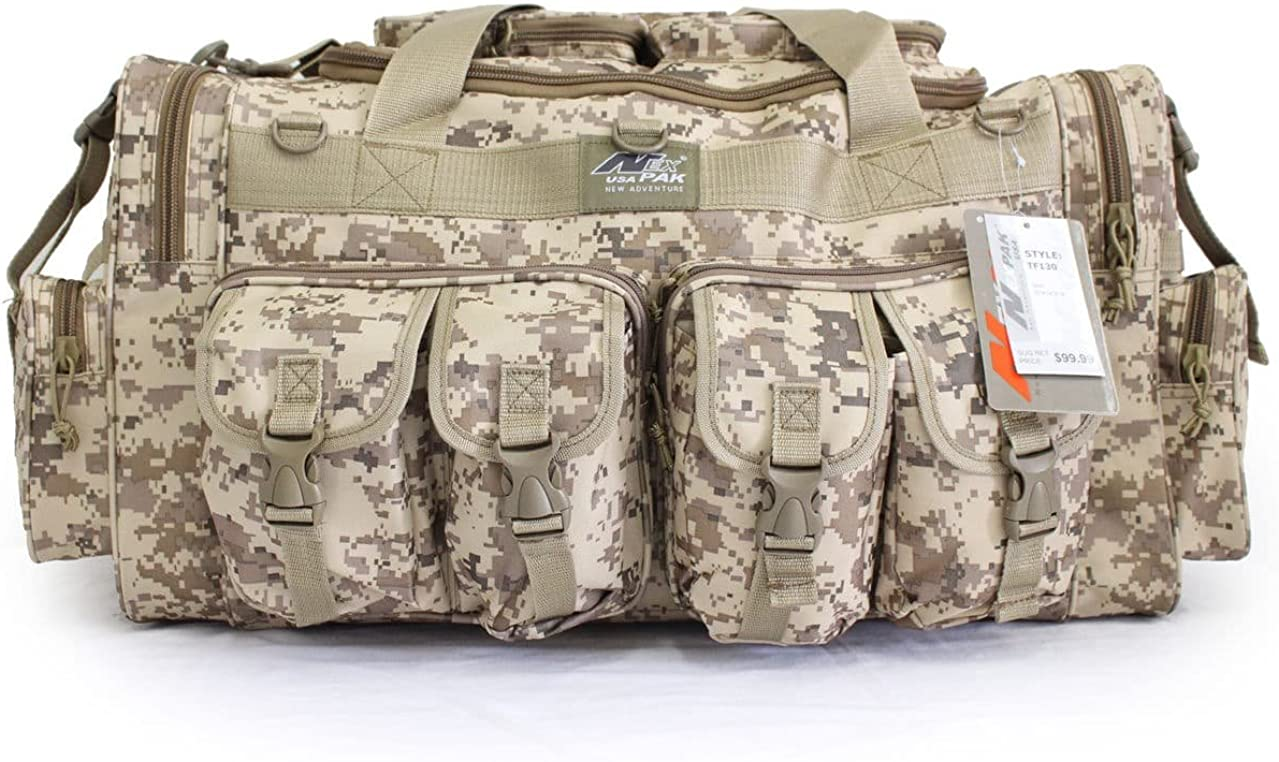 "NPUSA Mens Large 30"" Inch Gunmetal Grey Duffel Duffle Military Molle Tactical Cargo Gear Shoulder Bag"