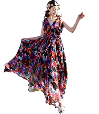 f896117d3a5 Medeshe Women s Hawaiian Holiday Chiffon Floral Beach Double V Neck Maxi  Dress (Length  115cm