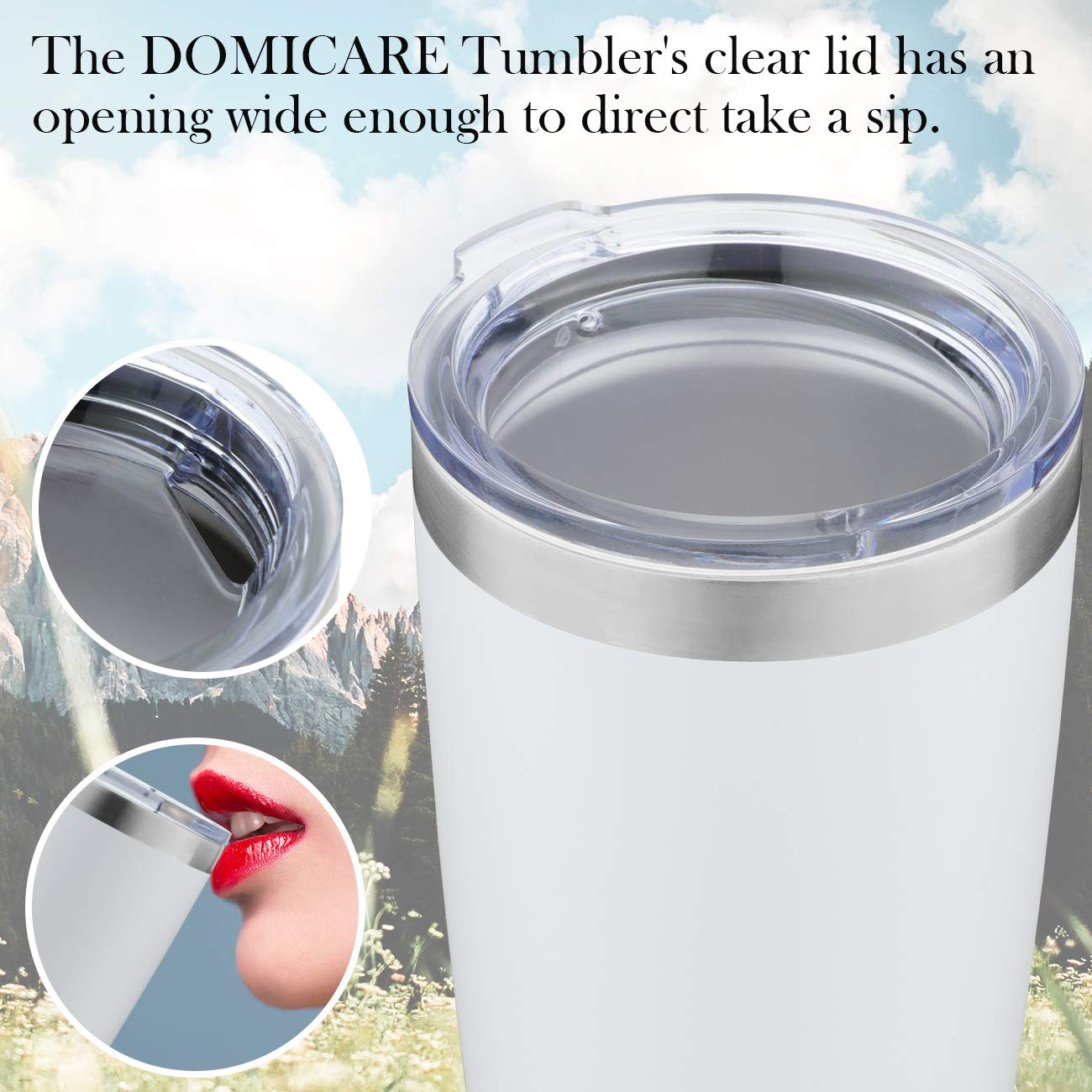 DOMICARE 20oz Stainless Steel Tumbler with Lid, Double Wall Vacuum Insulated Travel Mug, Durable Powder Coated Insulated Coffee Cup, 4 Pack, White by DOMICARE (Image #6)