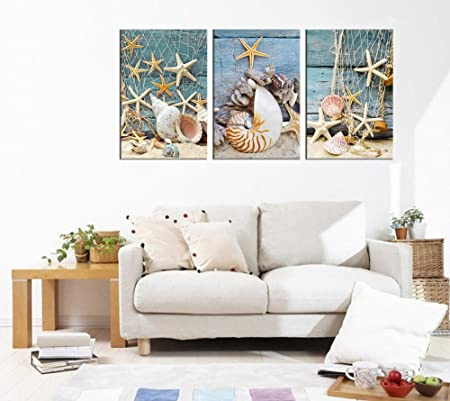 yearainn Wall Art Canvas Picture Starfish Shell Fishing Net Stone on Beach Sands Framed Ready to Hang – 3 Panels Extra Large Contemporary Painting Giclee P on Canvas for Home and Office Decoration